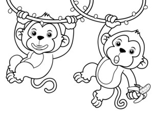 Illustration of Cartoon Monkeys - Coloring book