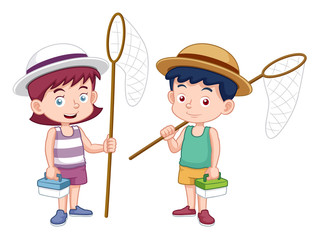 illustration of boy and girl with insect net