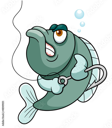 illustration of fish with Fishing Hook