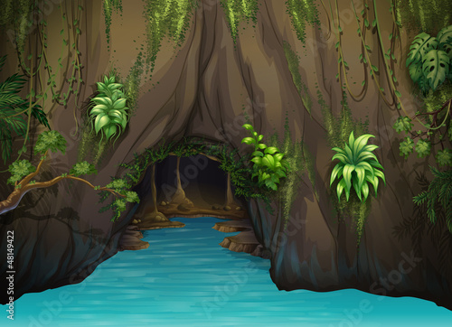 A cave and water