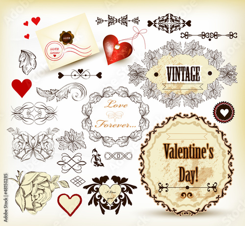 Calligraphic vintage design elements for valentine's design