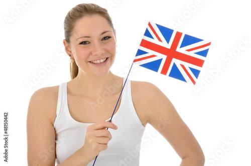 Junge Frau mit Union Jack