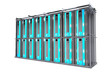 Servers Rack Isolated on White. Cool Modern Hosting Rack