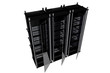 BLack Modern Server Racks Isolated on White.