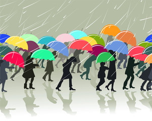 pattern with silhouettes of people with umbrellas in a rainy day