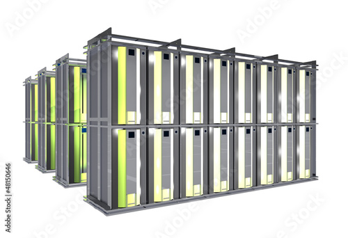 Hosting Room - Server Racks Isolated on White.