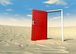 Red Door Open In A Desert