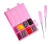 Pink box with screws and screwdrivers