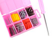 Pink box with screws and screwdriver