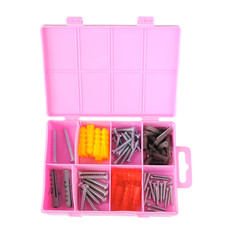 Pink box with screws and dowels