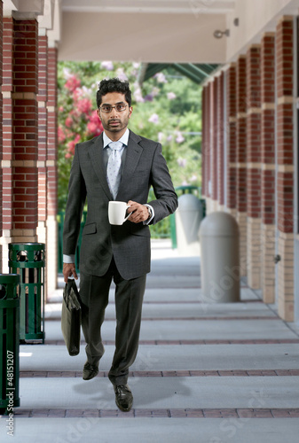 Man with Brief Case and Coffee