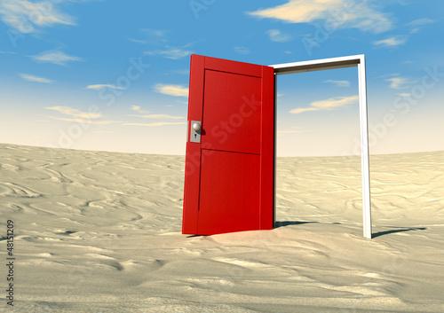 Red Door Open In A Desert