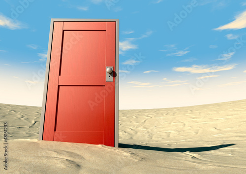 Red Door Closed In A Desert