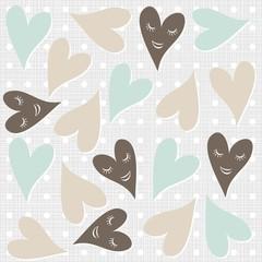 uśmiechnięte serca deseń na szarym tle w kropki