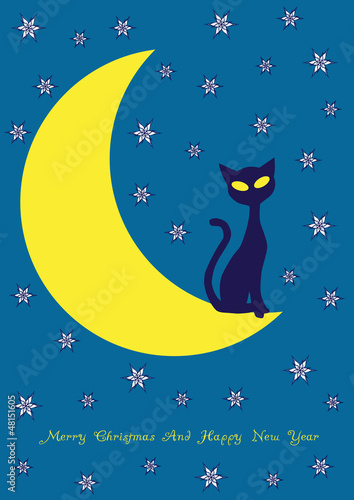 vector background with cat on the moon