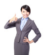 Happy business woman with thumbs up