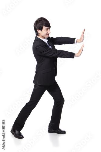 business man happy pushing