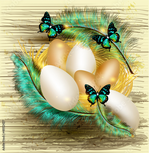 Easter greeting card with nest full of eggs and colorful ferns
