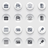 Banking icons on white buttons. Set 2.