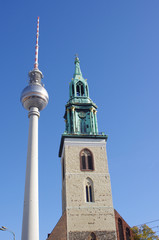 TV tower and church of Saint Maria in Berlin