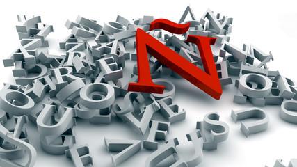 Letras y letra ñ de color rojo