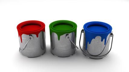 3 latas de pintura roja verde y azul
