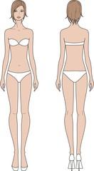 Vector illustration of woman's fashion figure