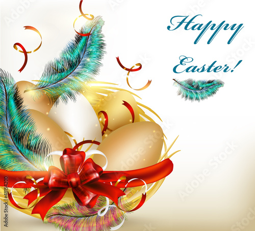Pretty Easter greeting card with nest, eggs and ferns