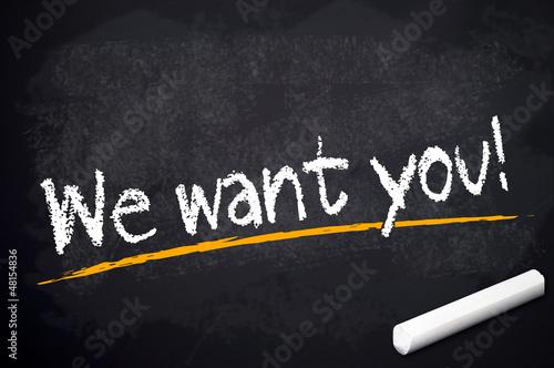 Kreidetafel mit We want you