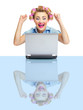 Successful funny smiling business woman with laptop