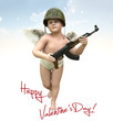happy valentine's day wishing  cupid 3d illustration