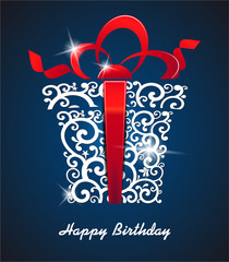Greeting card Happy Birthday. with gift box