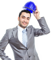 Portrait of businessman or engineer with helmet