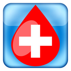 Blood drop with medical cross icon