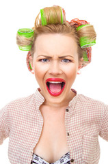 Funny pin-up girl screaming, close-up portrait isolated