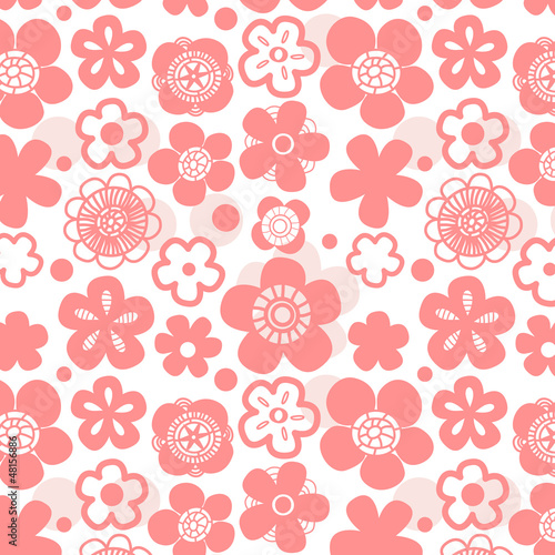 Sakura flower seamless pattern on white, vector