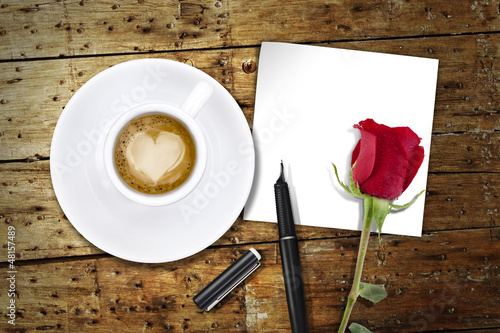Coffee on Valentines day, wooden table/vintage valentin day back