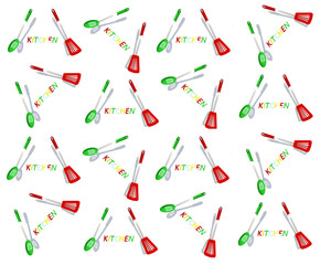 3D Kitchen Utensil pattern -abstract colorfull background