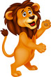Lion cartoon waving