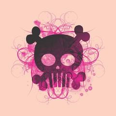 skull pink floral