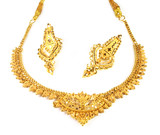 Wedding gold necklace with earrings of Indian subcontinents