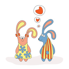 Rabbits in love cartoon