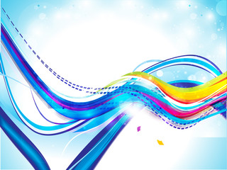 abstract colorful wave background with sparkle