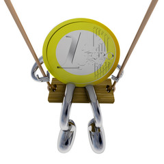 euro coin robot swinging on a swing top view illustration