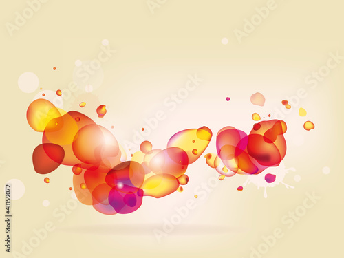 Colorful  abstract background with red yellow bubbles