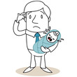 Figur, Mann, Erziehung, ratlos, Vater, Baby, schreiend