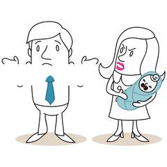 Figuren, Eltern, Vaterschaft, Erziehung, Streit