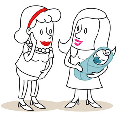 Figuren, Frauen, Neugeborenes, Baby, begutachten