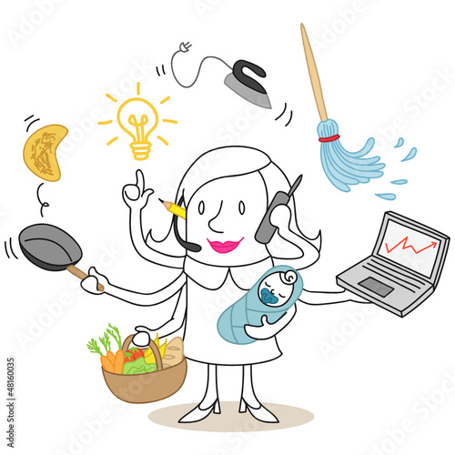Figur, Frau, Multitaskingfähig, Haushalt, Karriere, Kind