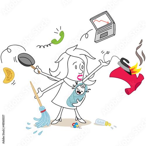 Figur, Frau, MultitaskingUnfähig, Haushalt, Karriere